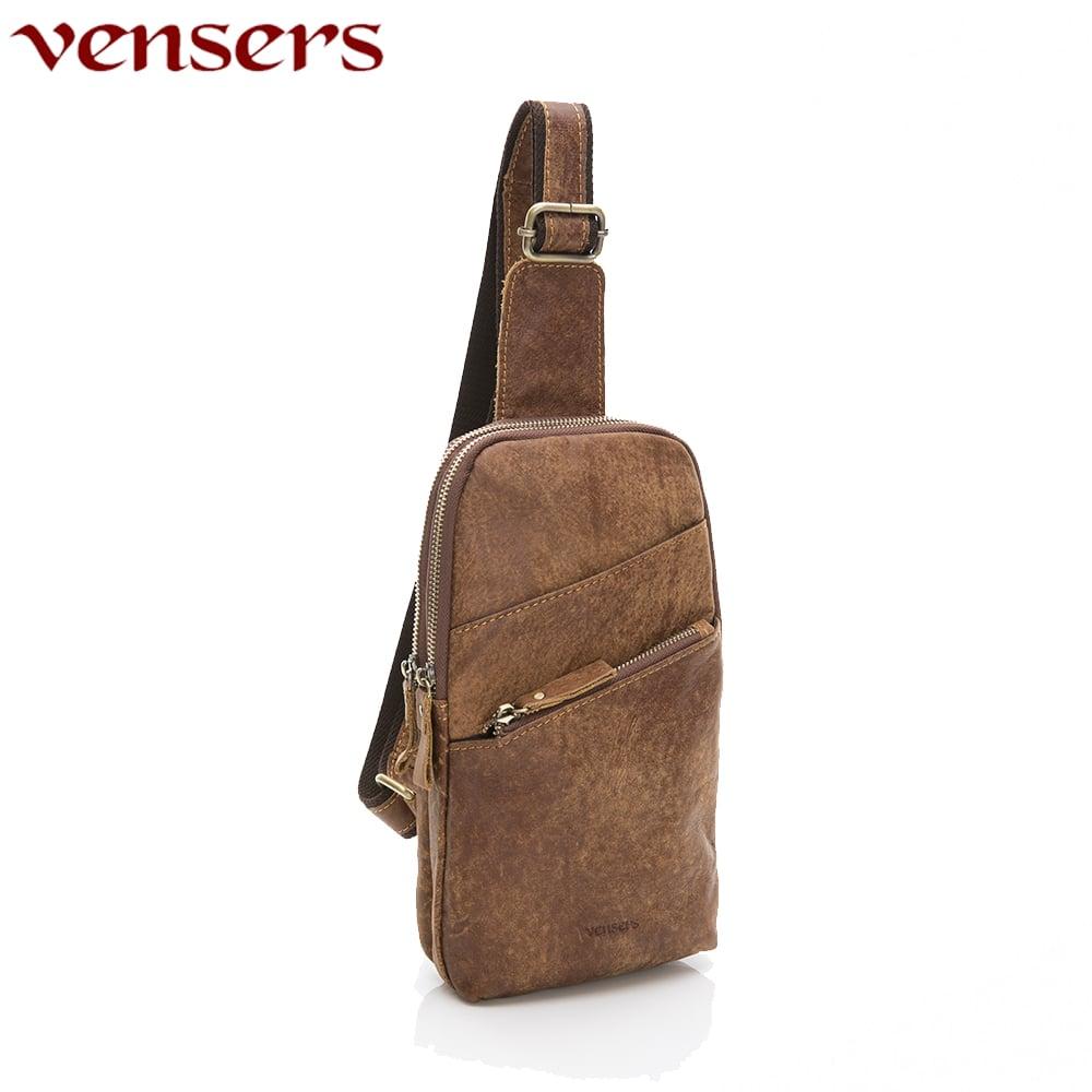 【vensers】小牛皮潮流個性包~胸包(NE882801磨沙皮)
