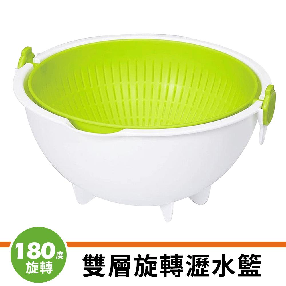 【日本小久保KOKUBO】雙層旋轉瀝水籃(綠色)