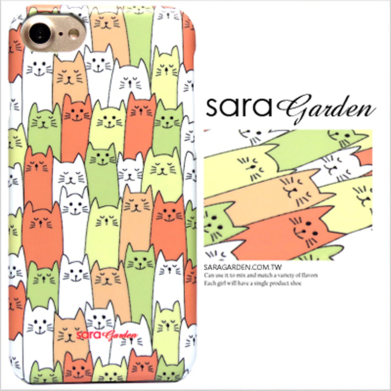 【Sara Garden】客製化 手機殼 Samsung 三星 Note8 手繪 貓咪 排排坐 保護殼 硬殼