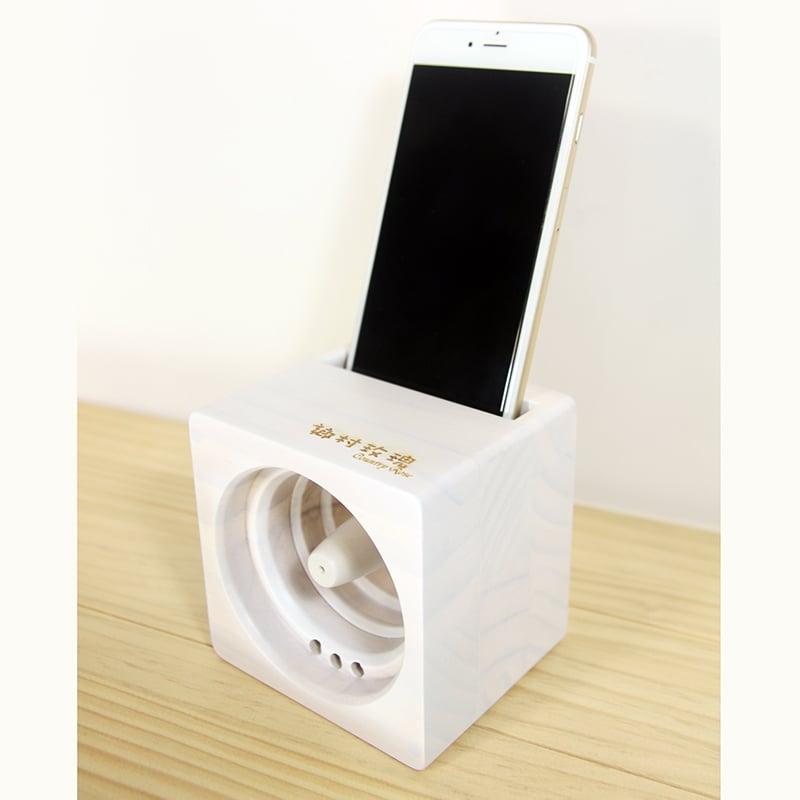【鄉村玫瑰】 方塊吐司手機音箱-白色