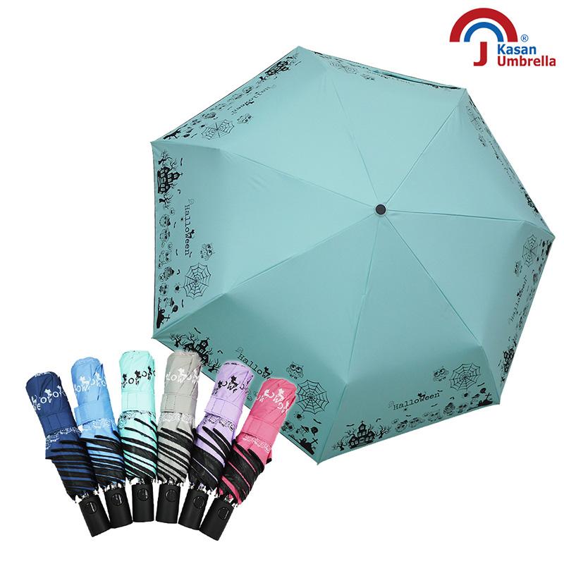 Kasan 晴雨傘 貓頭鷹降溫黑膠自動晴雨傘 萬聖款 淺綠