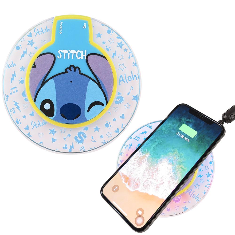 Disney迪士尼 透明水晶無線充電座/充電板_大臉史迪奇