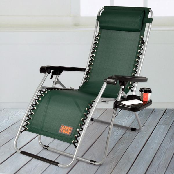 【LIFECODE】特斯林透氣無限段折疊躺椅-附置物杯架 (綠色)