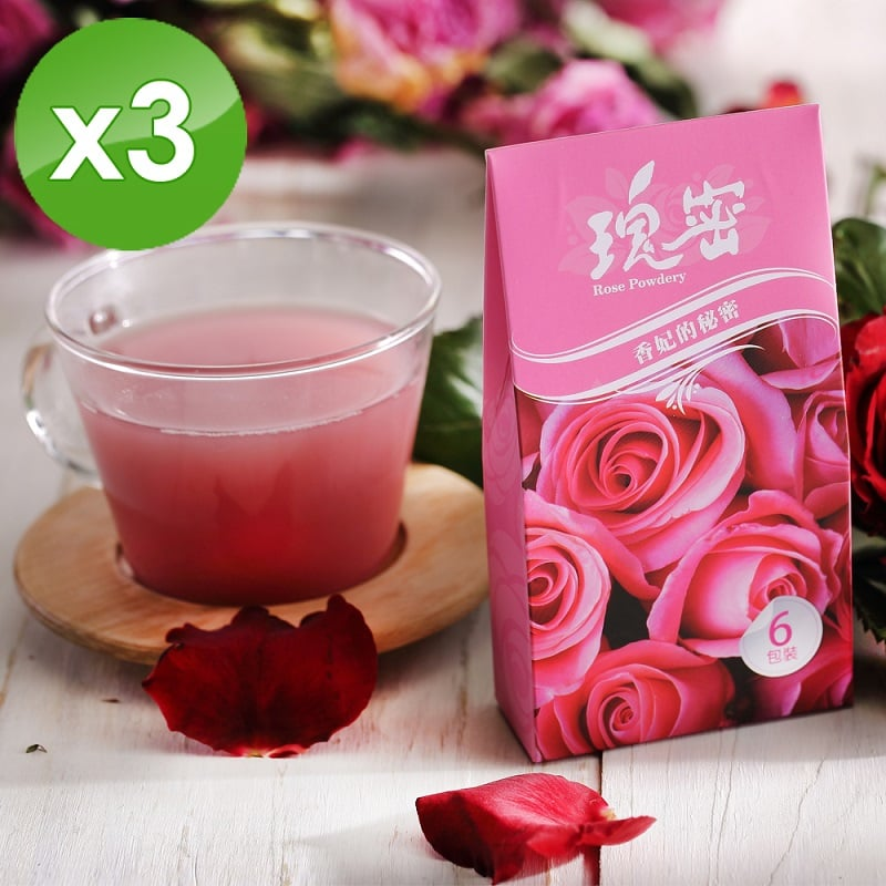【台灣瑰密】無毒食用玫瑰花粉3盒組(輕巧包1g*18包)