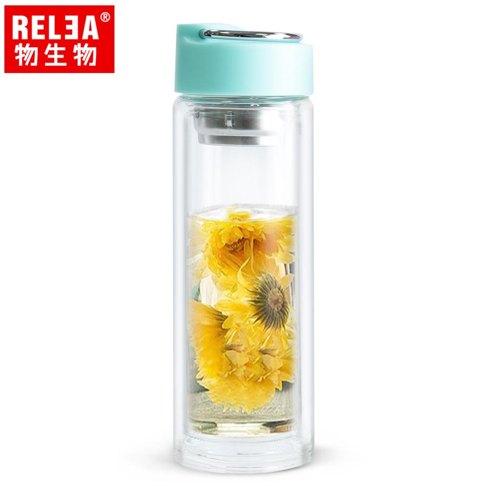【香港RELEA物生物】390ml悅己不鏽鋼提手耐熱雙層玻璃杯(島嶼藍)