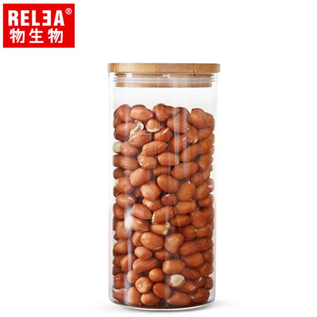 買1送1【香港RELEA物生物】650ml竹蓋長筒耐熱玻璃儲物罐