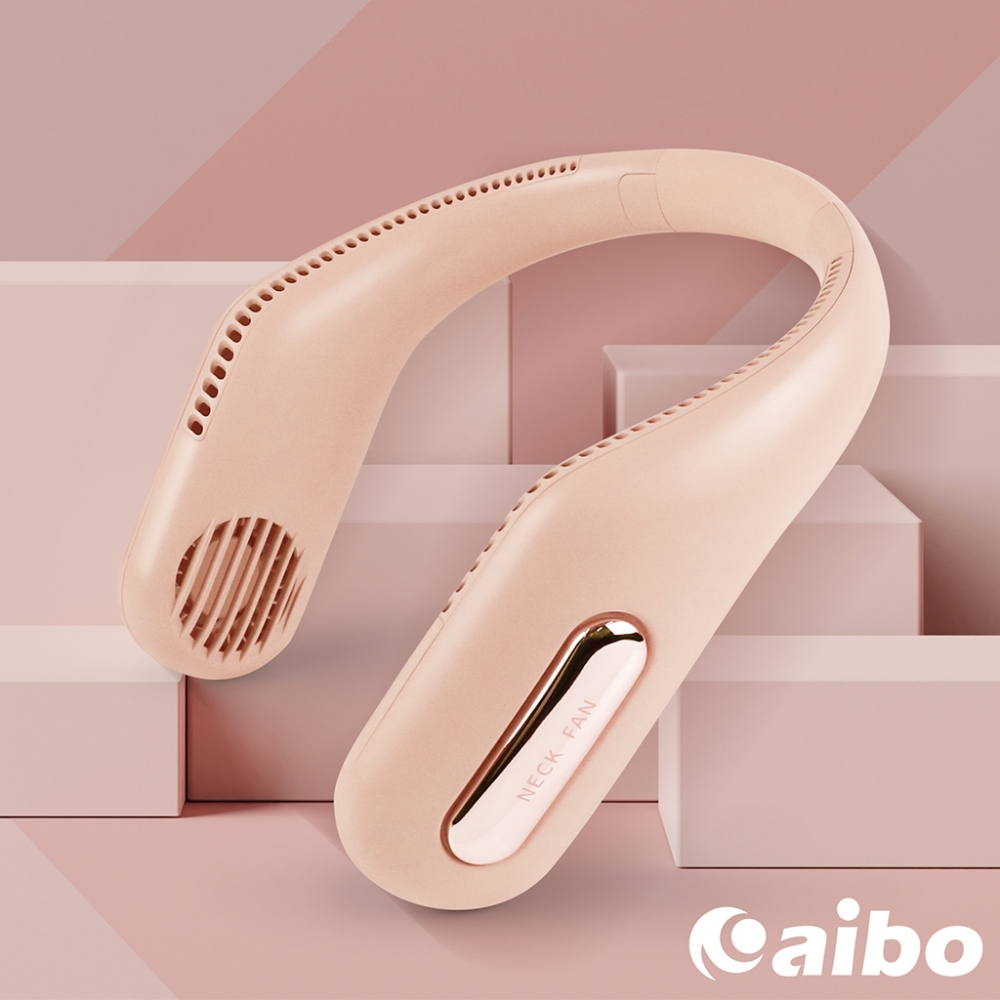 USB充電式 360度環繞清涼 隨身頸掛風扇(FAN-AB219)-粉紅
