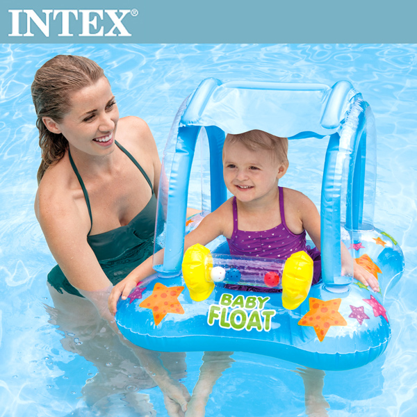 【INTEX】BABY幼兒遮陽戲水泳圈(80x66cm)適用1-2歲(56581)