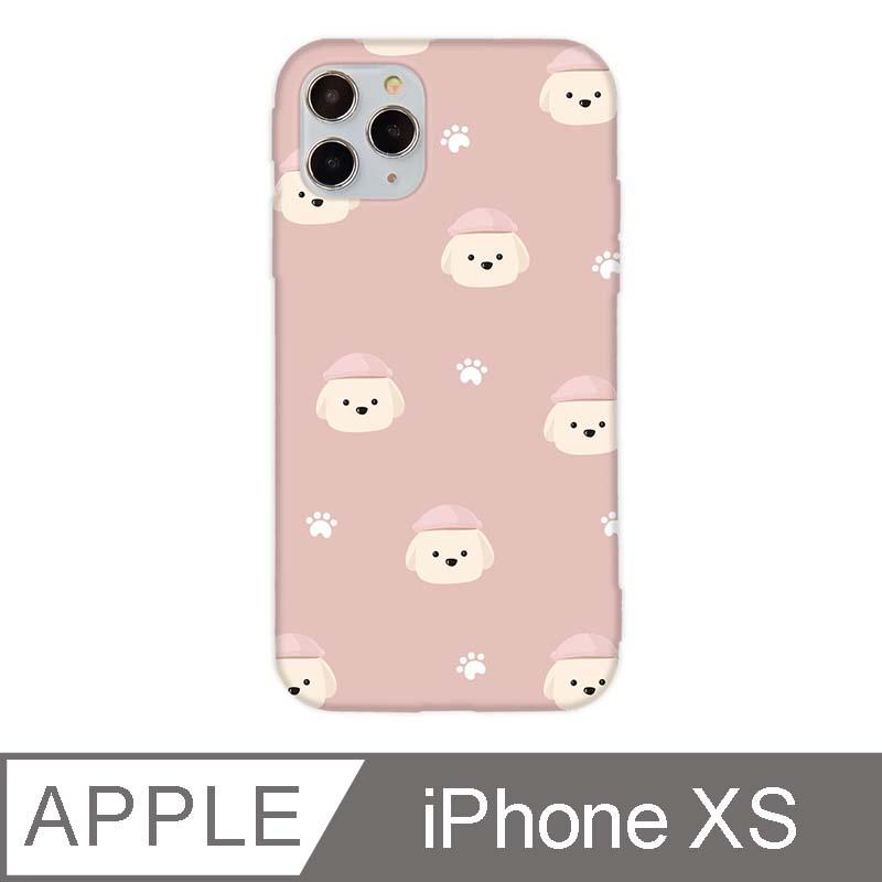 iPhone X/Xs 5.8吋 文藝貴賓狗iPhone手機殼 奶油貴賓碎花款 夢幻粉