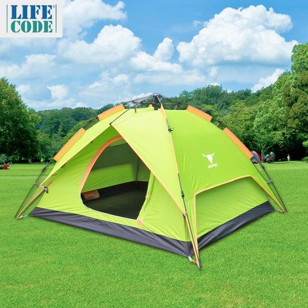 APC-《立可搭》3-4人抗紫外線雙層速搭帳篷-彈簧款(二用帳篷)-亮光綠