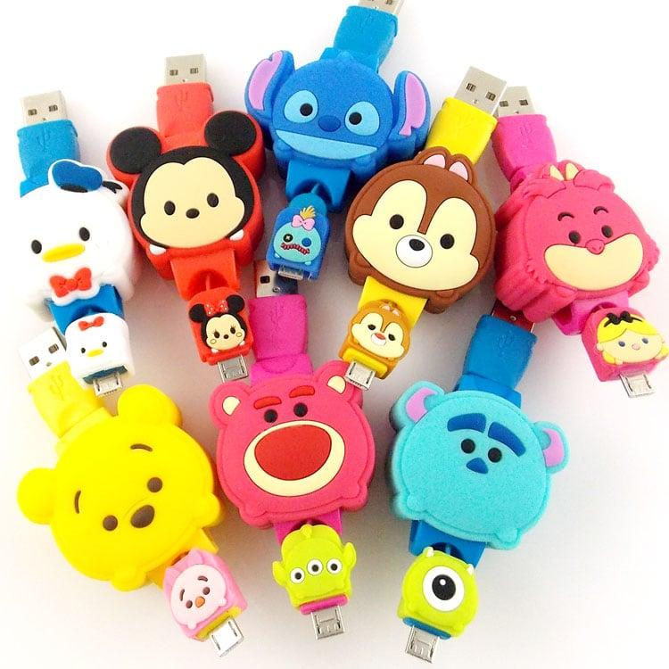 【Disney】 TSUM TSUM Micro USB 造型伸縮傳輸線-柴郡貓
