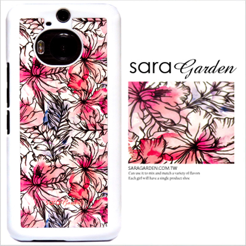 客製化 原創 Samsung 三星 A8(2016) 手機殼 白硬殼 水彩扶桑花