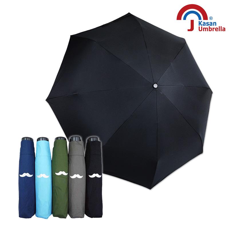 【Kasan晴雨傘】型男晴雨兩用手開折傘-純黑