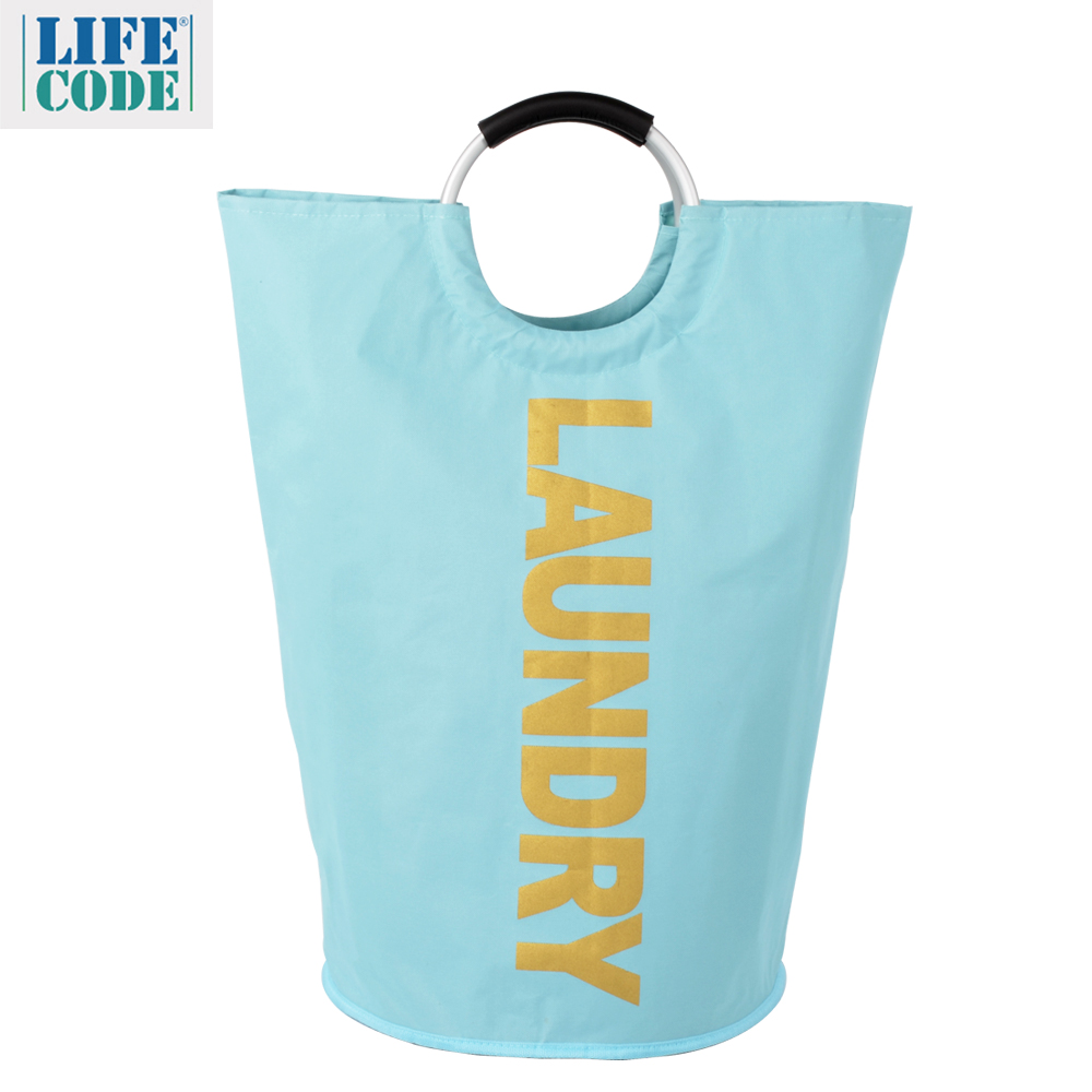 【LIFECODE】超大容量髒衣袋LAUNDRY金字/折疊裝備袋-天藍