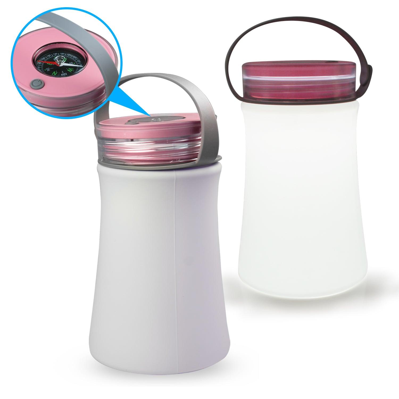 USB充電式 戶外矽膠手提燈(附指南針)-粉紅