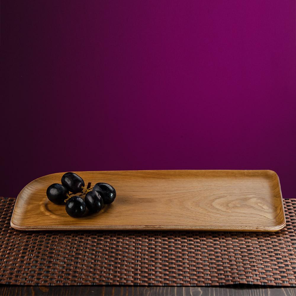 自然質樸柳木紋置杯長托盤-生活工場
