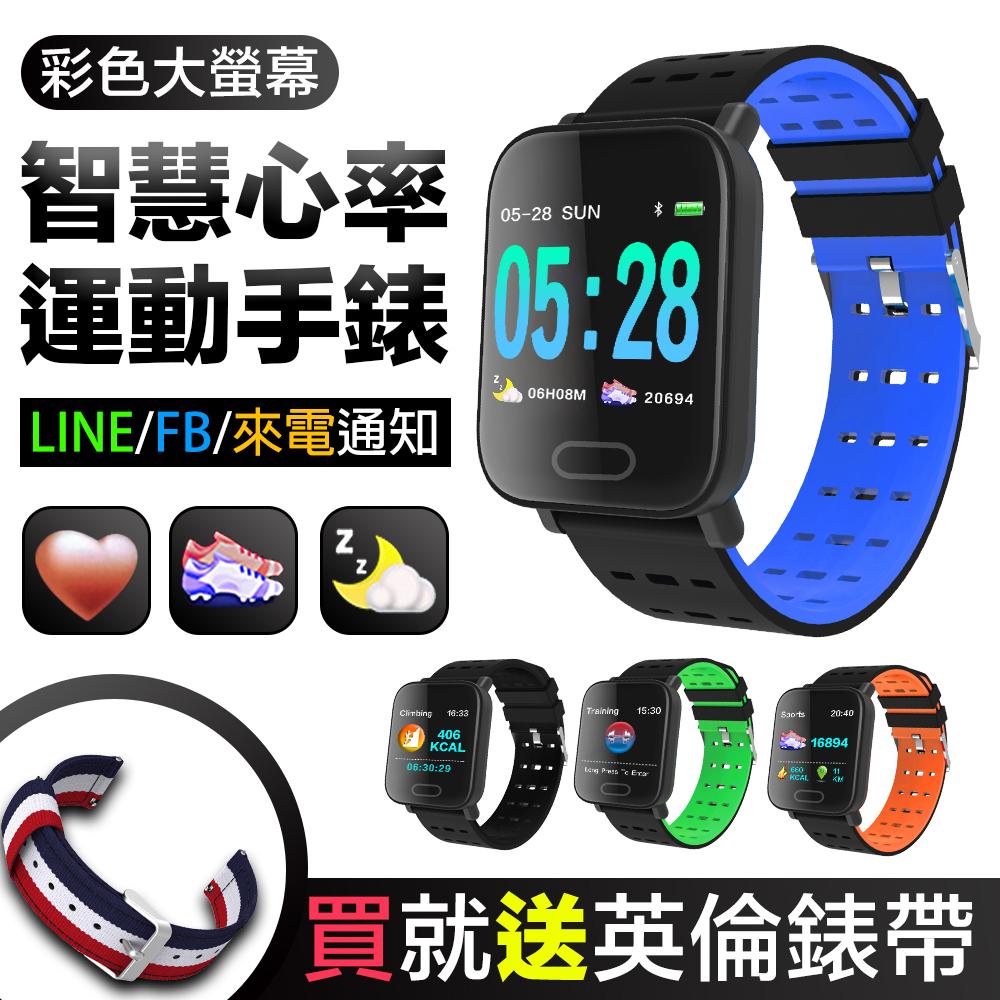 【MTK】方款彩屏大螢幕心率手環mi5(加碼贈英倫風錶帶)黑色