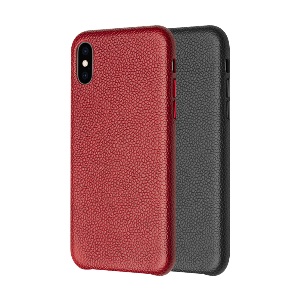 QIALINO Apple iPhone X/Xs 荔枝紋真皮背套(大紅)