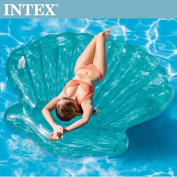 【INTEX】美人魚貝殼浮排-杯架設計(191*191*25cm) 適用:成人(57255)