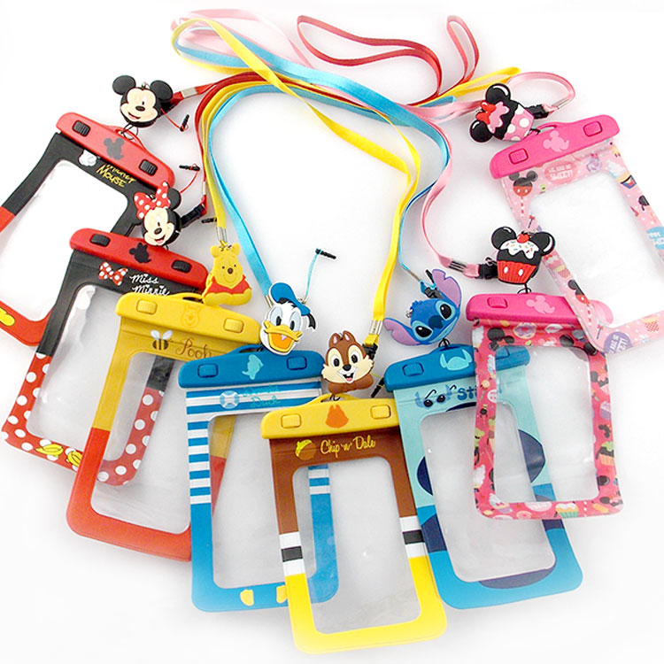 Disney迪士尼5吋通用可愛繽紛手機防水袋(附夾子捲線器耳機塞)_奇奇