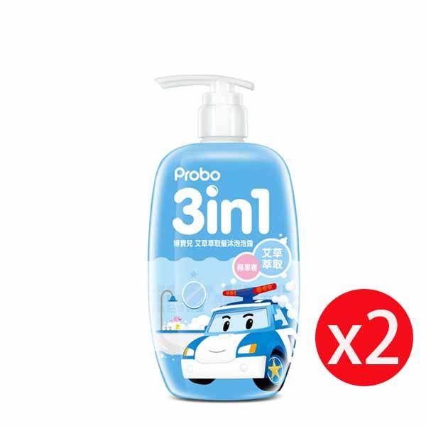 博寶兒艾草萃取洗髮沐浴泡泡露-POLI 波力(藍)蘋果香 500ml*2瓶