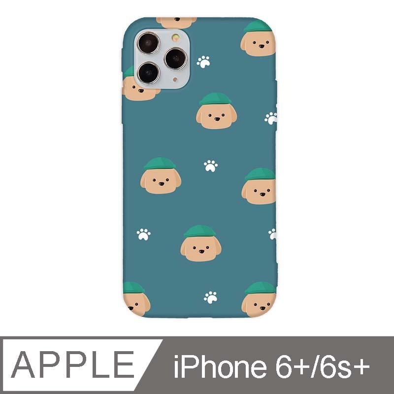 iPhone 6/6s Plus 5.5吋 文藝貴賓狗iPhone手機殼 巧克力貴賓碎花款 青綠色