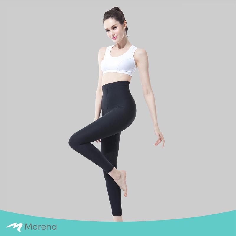 MARENA 日常塑身運動系列 輕塑高腰九分塑身褲(黑色-XS)