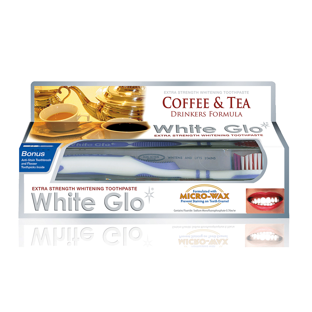 【澳洲White Glo】咖啡茶漬特效牙膏150g(附牙刷+牙縫刷)X6入(即期品半價出清)