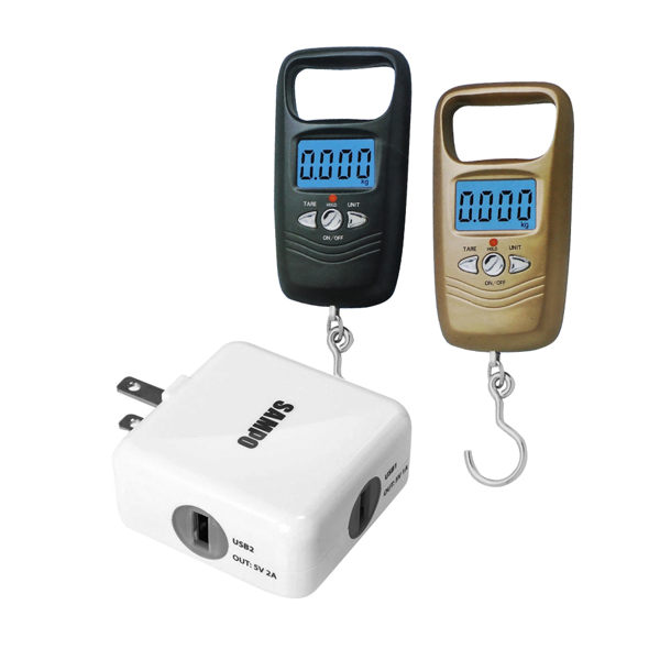【SAMPO聲寶】聲寶 雙USB充電器(DQ-U1202UL)+【SA+】行李秤/吊掛秤(WH-A17L)(金色)