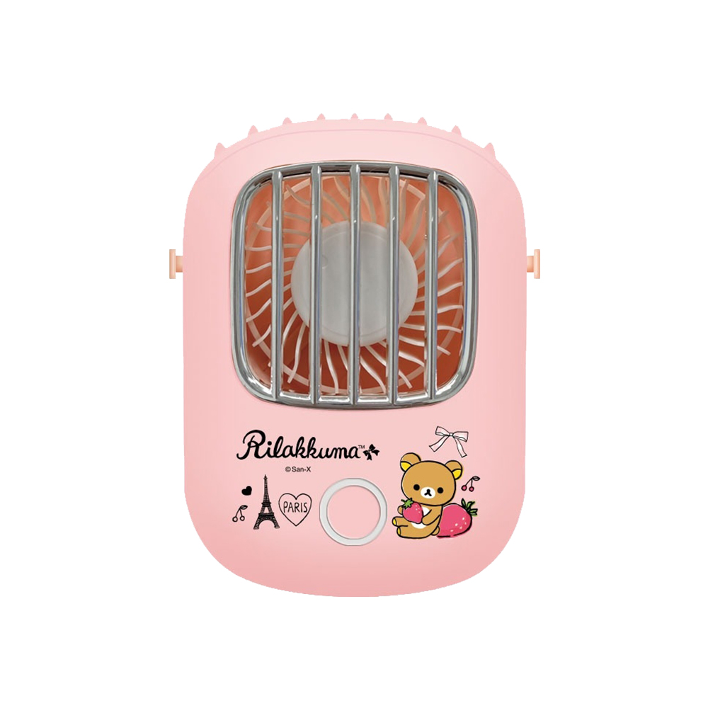 【正版授權】Rilakkuma拉拉熊 可掛脖/可桌立 上吹式頸掛風扇-草莓鐵塔