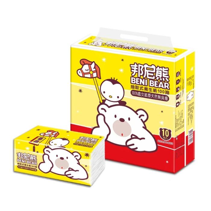 Benibear 邦尼熊 抽取式衛生紙100抽x10包x2袋-黃版