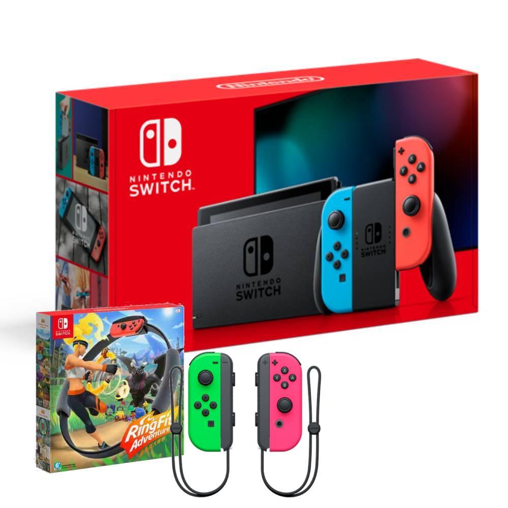 Nintendo Switch主機電光紅藍(電池加強版)+健身環大冒險同捆組+Joy-Con左右手控制器粉紅綠