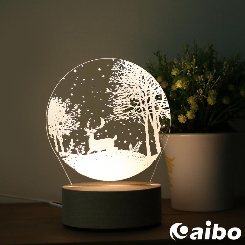 北歐風3D立體造型 LED原木底座USB小夜燈(線控開關)-森林小鹿