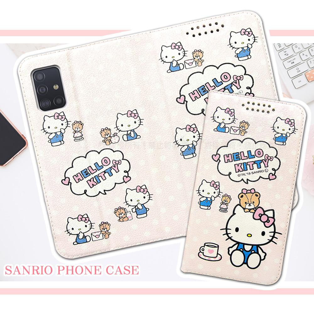 三麗鷗授權 Hello Kitty貓 三星 Samsung Galaxy A51 粉嫩系列彩繪磁力皮套(小熊)
