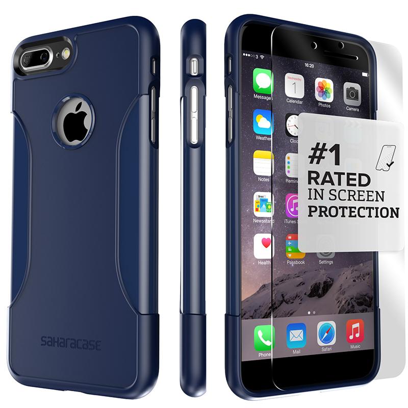 【Saharacase】撒哈拉 經典款 iPhone7Plus/8Plus 手機殼(9H玻璃保護貼+貼膜神器+安裝組) 深藍