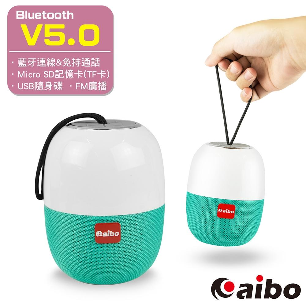 aibo BT-L07 多功能隨身攜帶式 藍牙V5.0無線喇叭(TF卡/隨身碟/FM)-白綠