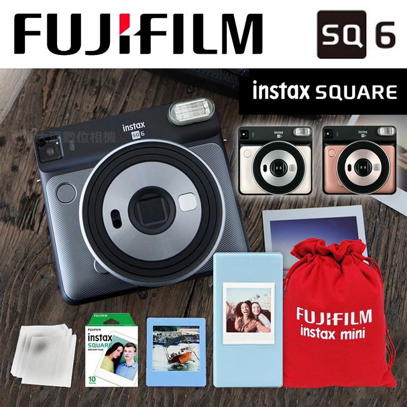 富士 FUJIFILM INSTAX SQUARE SQ6 (腮紅金) 豪華5件組 正方型 復古拍立得相機 原廠公司貨保固一年