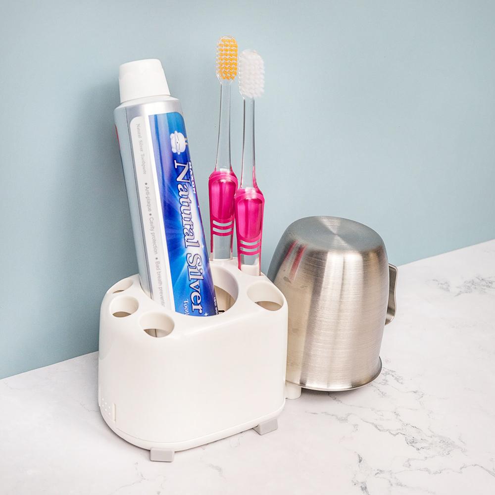 【日本LEC】牙刷牙膏收納架