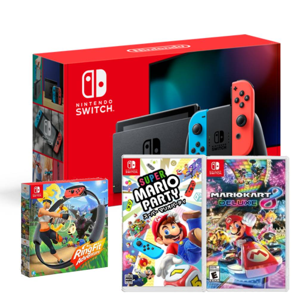 Nintendo Switch 主機 電光紅藍 (電池加強版)+健身環大冒險 同捆組+瑪利歐賽車 8 豪華版+超級瑪利歐派對 亞版 中文版