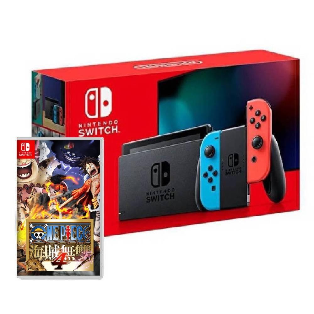 Nintendo Switch 主機 電光紅藍 (電池加強版)+航海王:海賊無雙 4中文一般版