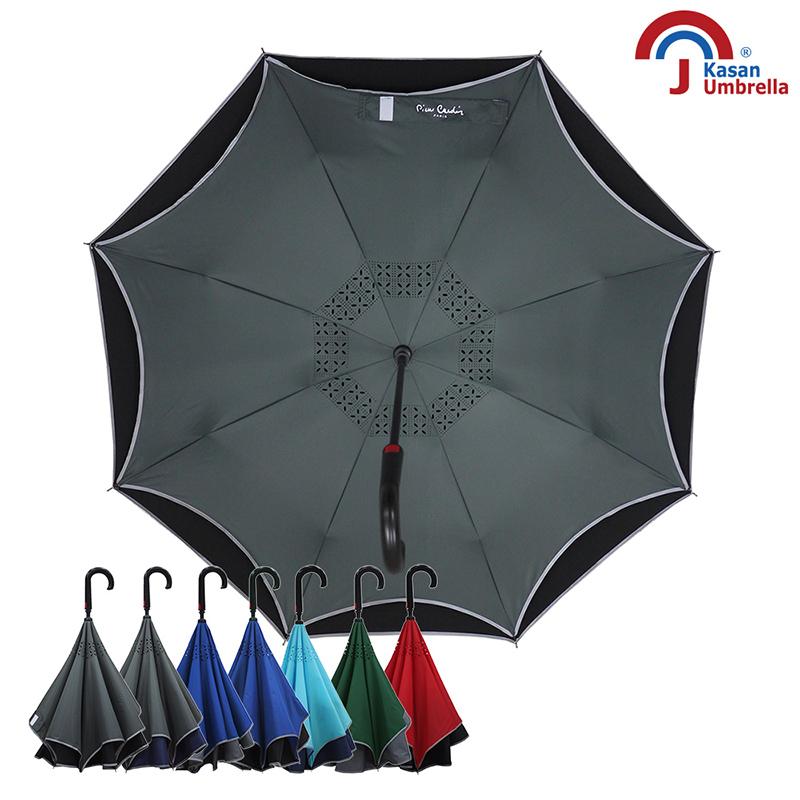 【皮爾卡登】雙層紳士自動反向傘-灰黑