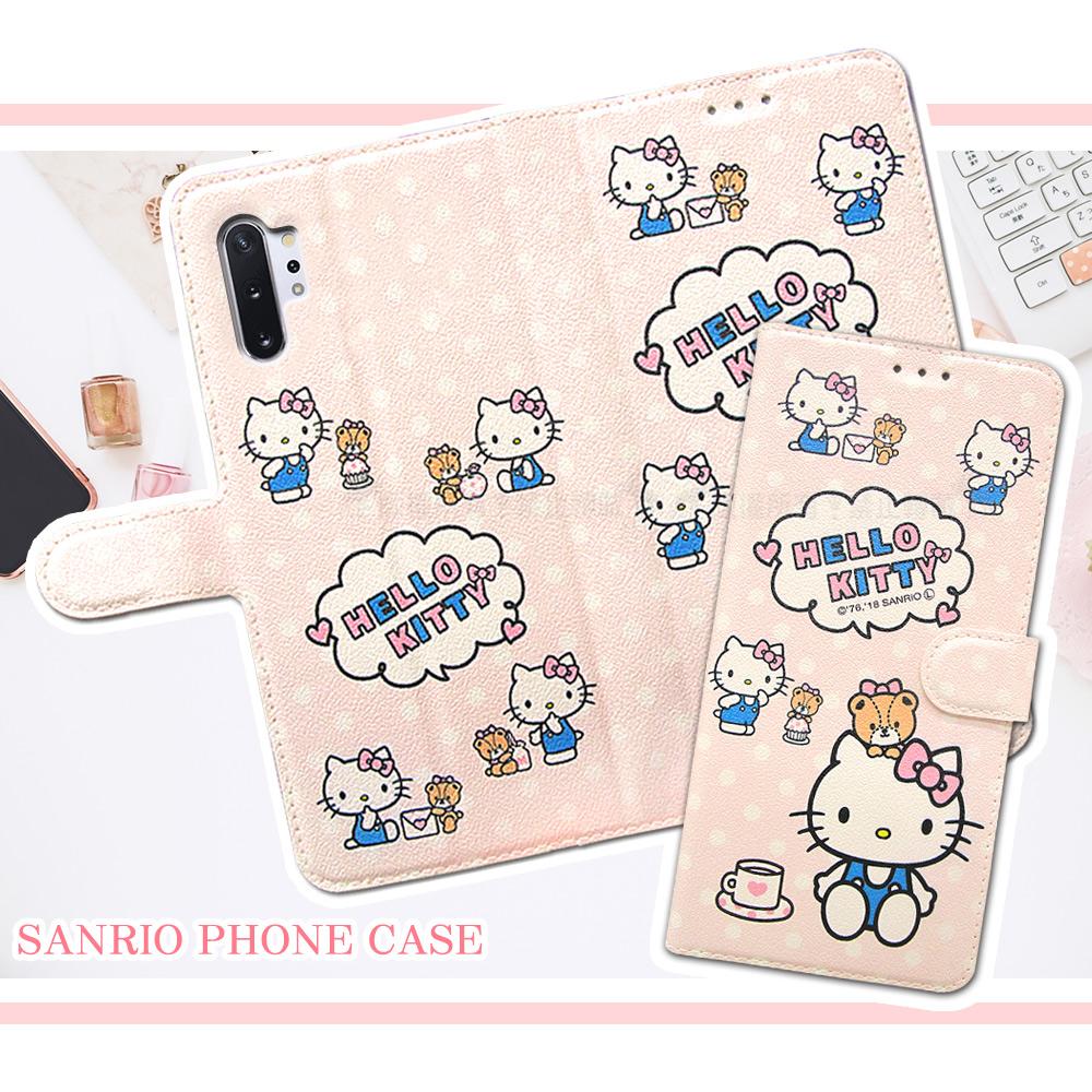 三麗鷗授權 Hello Kitty貓 三星 Samsung Galaxy Note10+ 粉嫩系列彩繪磁力皮套(小熊)