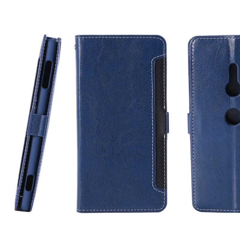 CASE SHOP SONY Xperia XZ2 專用前收納式側掀皮套-藍