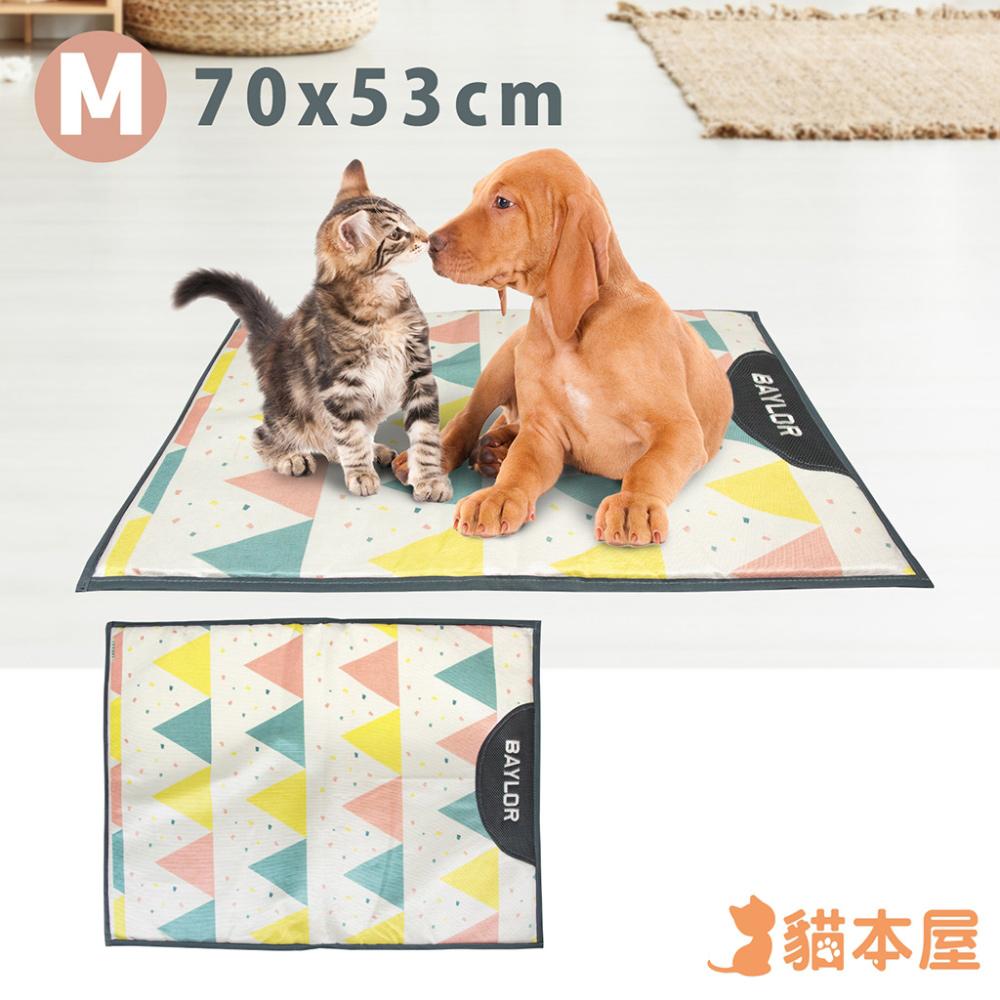 貓本屋 冰絲寵物涼墊(M號/70x53cm)-三角旗