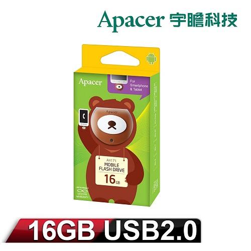 Apacer宇瞻「麻吉動物園」AH171 16GB OTG隨身碟_蜂蜜熊