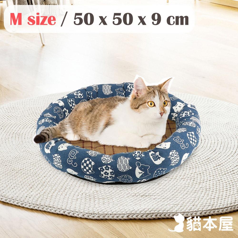 貓本屋 日式和風寵物涼蓆墊(M號/50x50cm)-藍底白貓