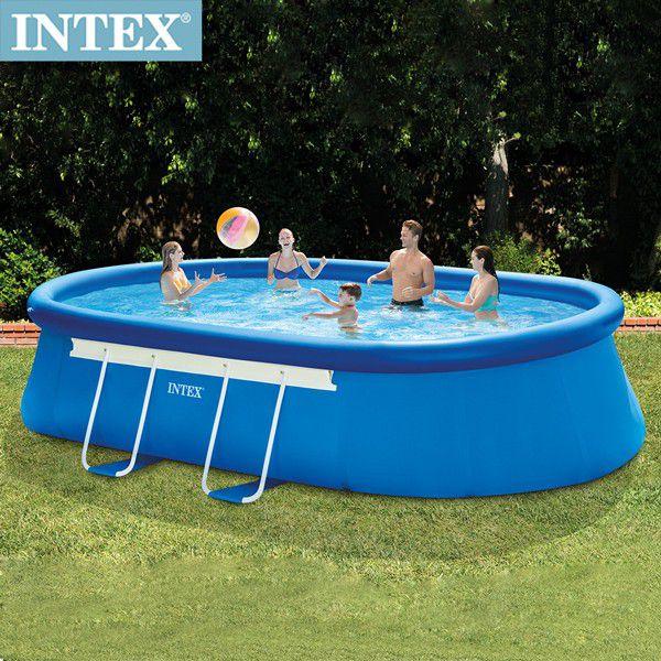INTEX 橢圓型簡易裝EASY SET框架大型泳池-濾水泵(26191)+送電動幫浦(66619E)