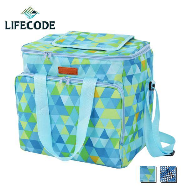 【LIFECODE】法頌肩背野餐保冰袋/保冷袋/保溫袋-光影綠