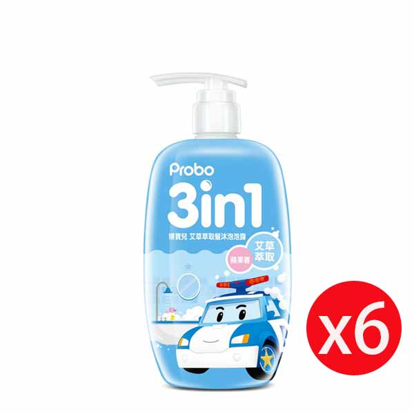 博寶兒蓮花萃取洗髮沐浴泡泡露-POLI 波力(藍)蘋果香 500ml*6瓶
