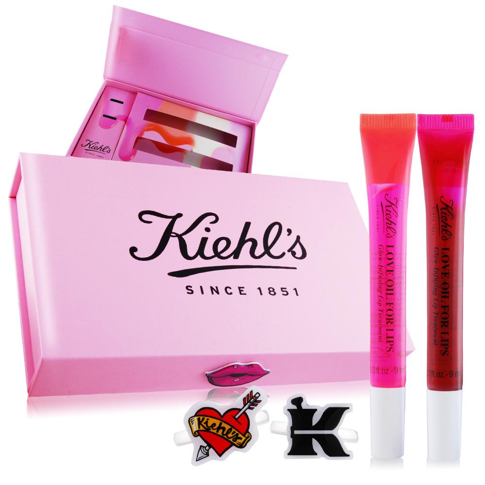 KIEHL'S 契爾氏 粉嫩美唇情人禮盒組[唇油X2+禮盒+戒子X2]櫻花粉+莓果紅